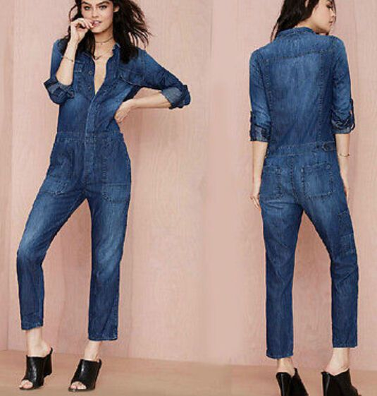2017 Fashion Women's Casual Jumpsuits Long Sleeve Long Lapel Denim Pants Rompers