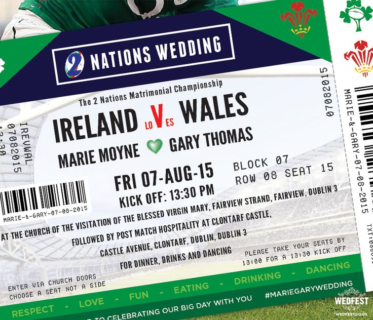 Ireland v Wales Rugby Ticket Wedding Invites http://www.wedfest.co/rugby-ticket-wedding-invitations/