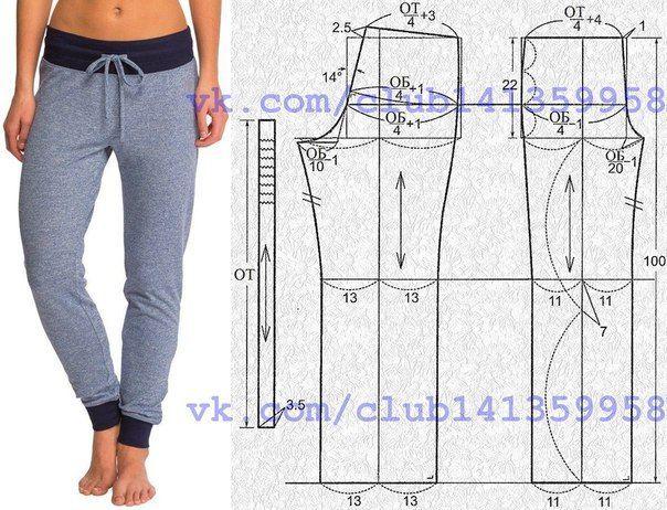Женские спортивные штаны. #простыевыкройки #простыевещи #шитье #спортивныештаны #выкройка
