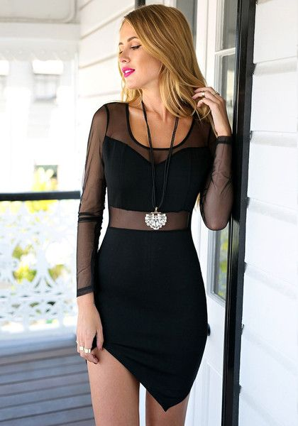 Dress // This black dress is your all-in-one solution. Details like an illusion sweetheart neckline, a mesh detailing at the waist and asymmetrical hem are what make the piece a total standout.