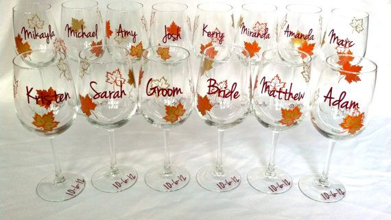 Fall wedding party wine glass, gold brown and burnt orange leaves, fall theme wine glasses, Bridesmaids and Groomsman gift