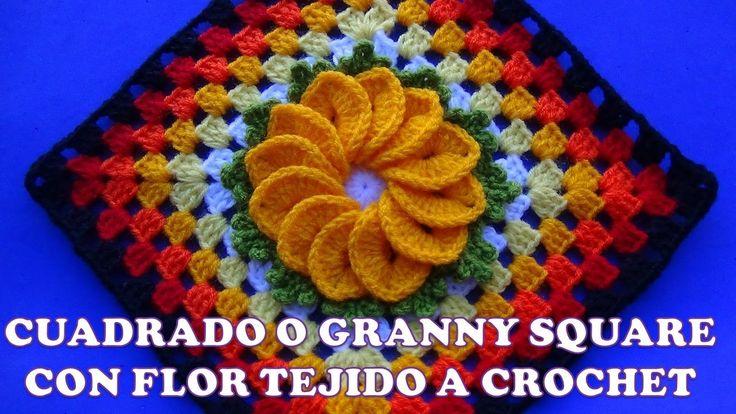 Cuadrado o Granny Square a crochet para colchas y cubrecamas con flor de...