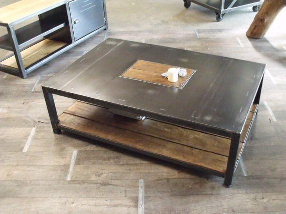 Table basse rectangle bois et métal sur mesure