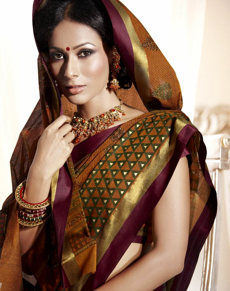 Shop Textile India Fashion Vogue Chanderi #CottonPrintedSaree With Unstitched Blouse - HEERAL-2623 (Mustared) online at lowest p… | Women's Ethnic Wear | Pinte…