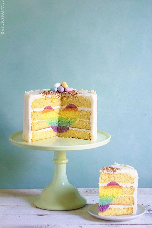 Surprise-Inside Rainbow Heart Cake via Bakers Royale