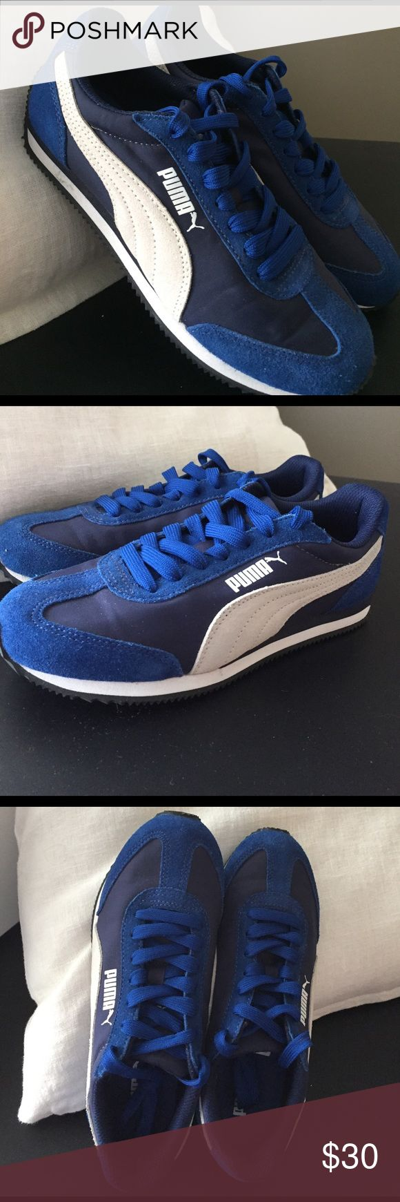 Puma Women's Classic Athletic Shoes Puma classic, worn once due to wrong size. Royal blue suede on navy nylon with white suede trim. Puma Shoes Athletic Shoes
