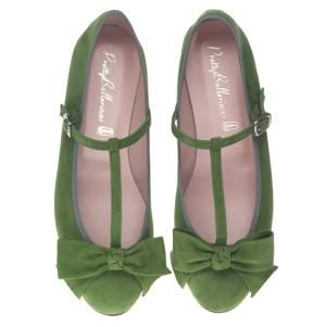 Marilyn  A very flat ballerina with an almond shaped toe and a quarter inch heel that fits very neatly so if in doubt order a size bigger.  Soft green suede with strap detail