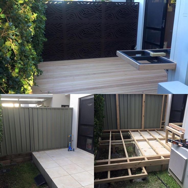 """""""Before, install and after from the talented folks @sydneymetrodecking of #decking and #outdeco #outdoorscreens #sydneymetrodecking #landscapedesign…"""""""