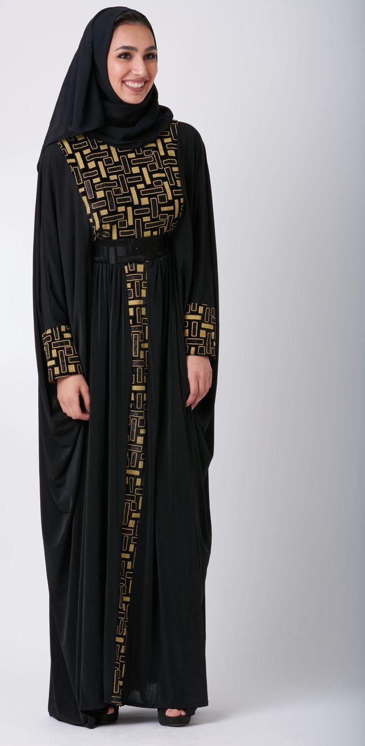 Mariposa (Spanish for butterfly) Abaya.   For more abaya styles and modest fashion, visit littleblackabaya.com     #AbayaFashion #AbayaDesigns