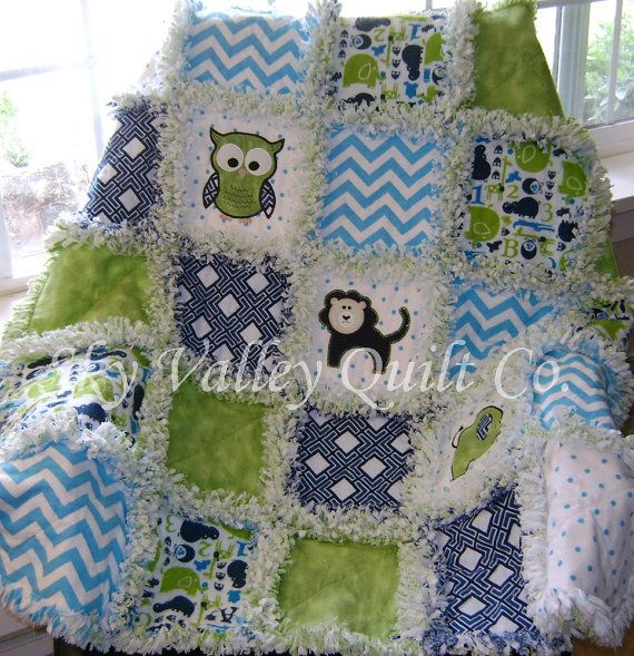 baby boy rag quilt ~ zoo animals navy, turquoise and green