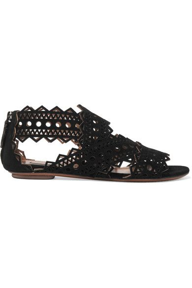 Alaïa's sandals are crafted from black suede with an intricate geometric pattern - the precise, laser-cut technique used is a house signature. Each beautiful panel is carefully placed to support your foot, while revealing glimpses of skin to ensure they feel fresh and light. We like them with mini hemlines.
