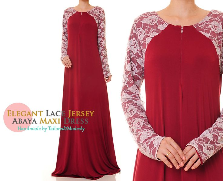 Floral Lace Sleeves Front Zip Red Jersey Modest Abaya Maxi Dress - Size M/L or Size 1X/2X (6107/2933) FREE SHIPPING! by Tailored2Modesty on Etsy