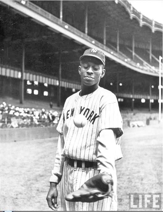 Satchel Paige   New York Black Yankees  Yankee Stadium 1941  George Strock for LIFE Magazine