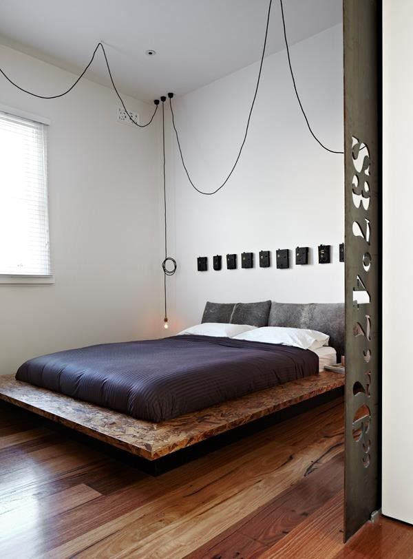 industrial bedroom furniture melbourne%0A Interior  Comely Street Extension Developed By ODR Architects In Melbourne  Featuring Modern Interior Design In Bedroom With Pendant Lamp  Wooden Floor  And