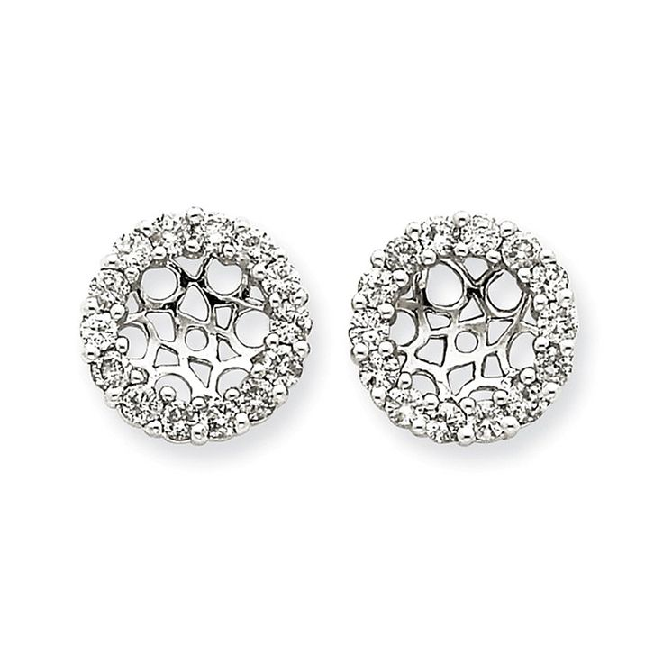 14k White Gold Diamond Round Cut Shared Prong Earring Jackets - 0.868cttw