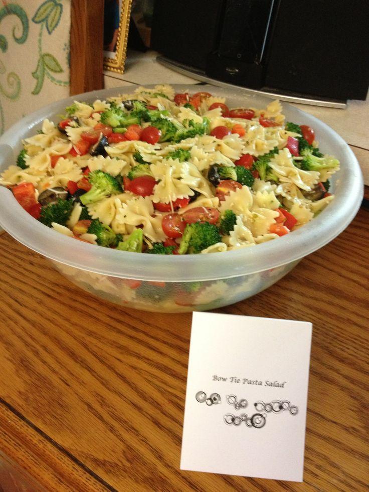 bow tie pasta salad black olives brocolli