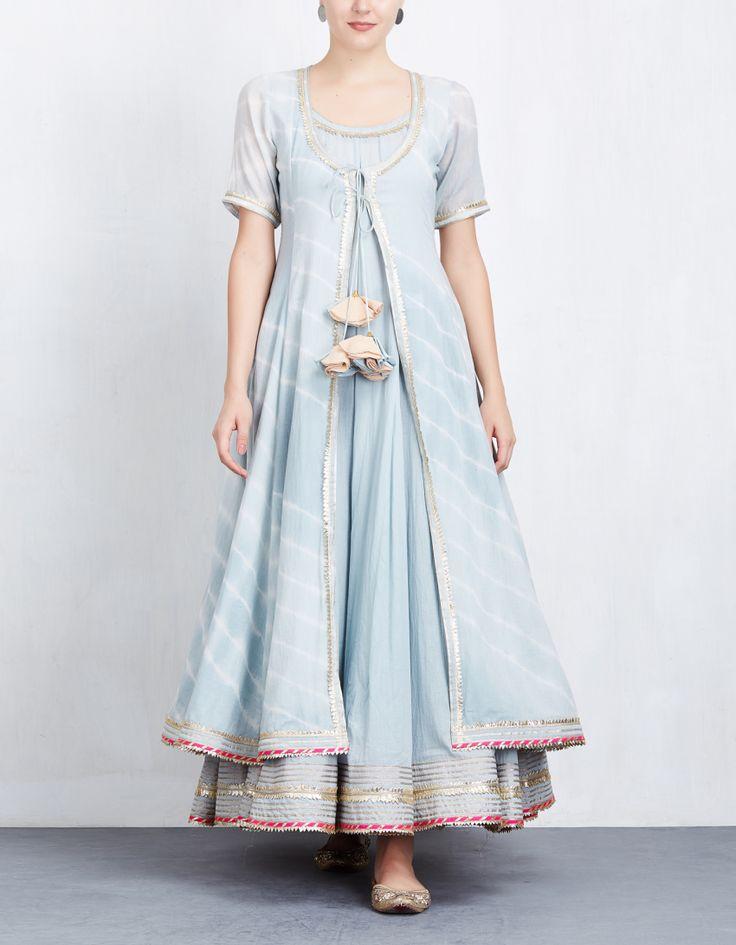 Sky Blue Leheriya Jacket with Anarkali Set