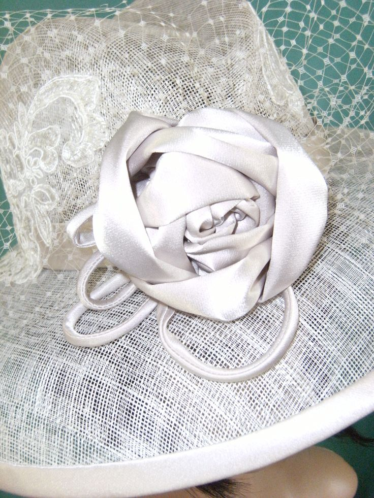 Fabric Handmade cubist rose on a sinamay hat. #Millinery: Toni Spence