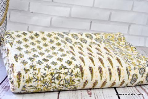 Mustard Hand Block Patchwork Kantha Quilt