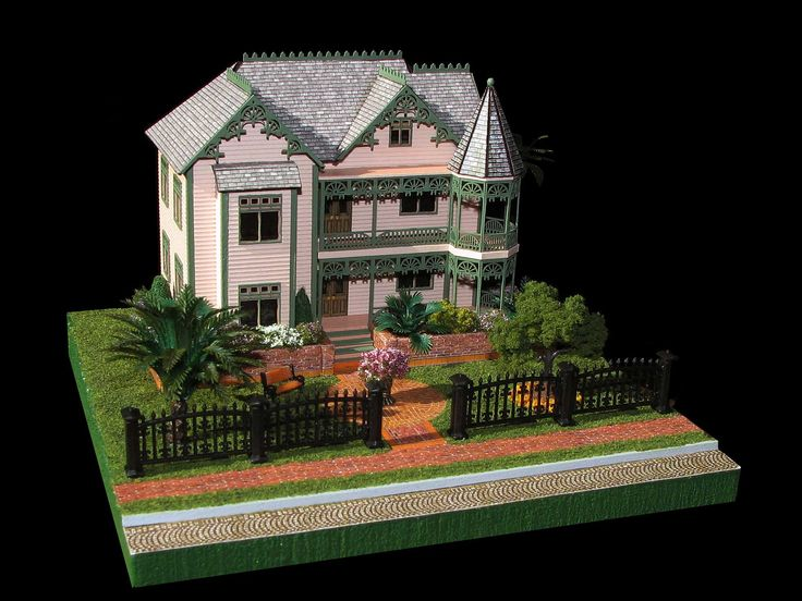 Gingerbread mansion dollhouse in 1 144 scale 144th for Victorian kit homes