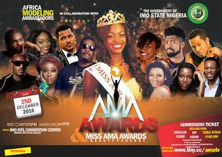African Modelling Ambassadors; African Stars Storm Imo for AMA Awards 2016   Come December 2nd 2016The Imo state Governmentwill host one of the biggest events in Africa.Africaappreciated.Modeling Ambassadors Awards (AMA Awards 2016)which willsee African stars brand ambassadors conventional models and key players from differentwalks of life ranging from movies music sports comedy etc all converge at the ten thousand capacityImo International Convention Centre (IICC)where they will all be…