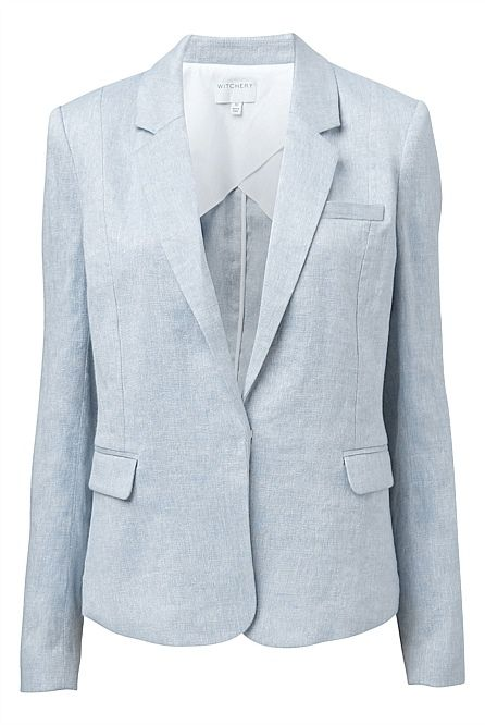 # Witchery style - Linen blazer, team it up with a pair of dark denims and some silver, summer loafers