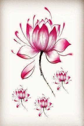 Rojo o negro loto flor tatuajes temporales del por Coolfashion4u