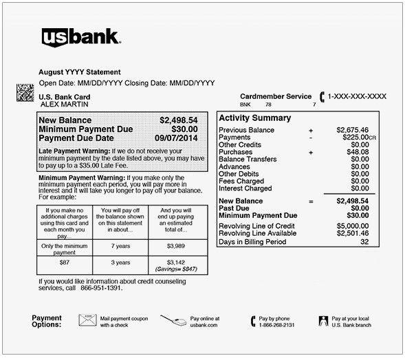 Us Bank Statement Template Beautiful Usbank Statement Template Credit Card Statement Bank Statement