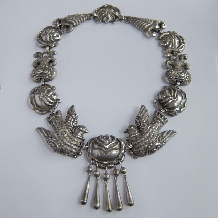 RARE Vintage Matl Mexico Sterling Silver Repousse Flower Dove Paloma Necklace | eBay