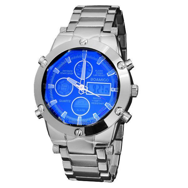 luxury brand BOAMIGO sports military watches Dual Time Quartz Analog Digital