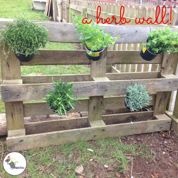 Our very easy to create herb wall for the children to use in their mud kitchen creations! #eyfs #earlyyears #mudkitchen #outdoors #eyfsoutdoors #herbs #aceearlyyears