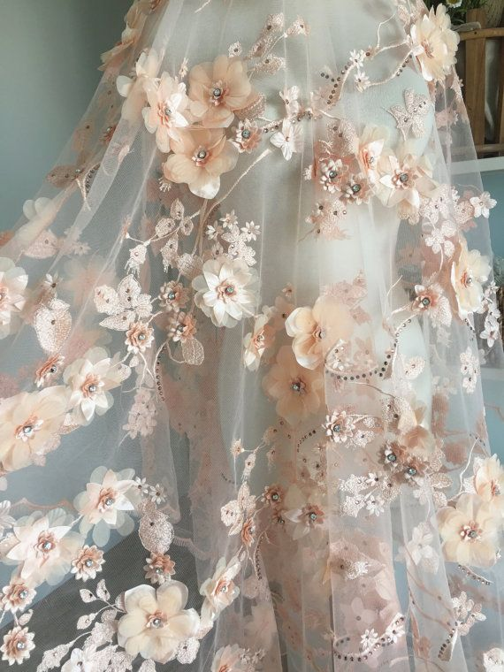 Luxurious 3D Beaded Flower Lace Material in Blush , Scallop Bridal Gown Wedding ceremony Robe Lace Material , Haute