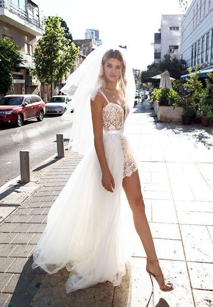 04809dc9c058784 Свадебное платье кружевное стиль бохо, рустик, пляжное, с короткой юбкой  dimitrius dalia