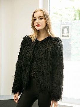 Black Collarless Faux Fur Coat | Choies