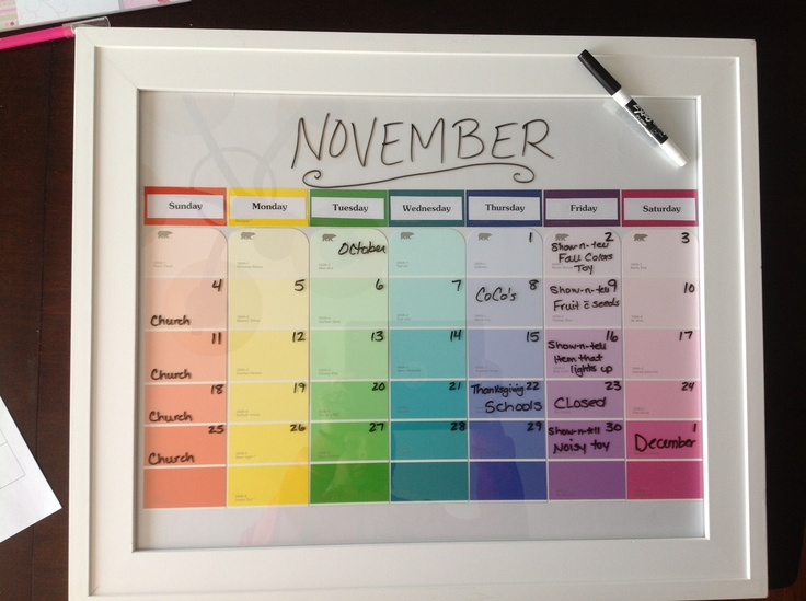 Paint strips + picture frame + dry erase marker = colorful kids calendar