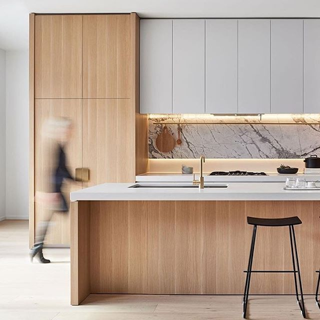 "Some very nice interior work here by @dko_arch_id at the ""Sky One Box Hill"" apartment building  #architecture #oak #kitchen #marble #white #interiordesign"