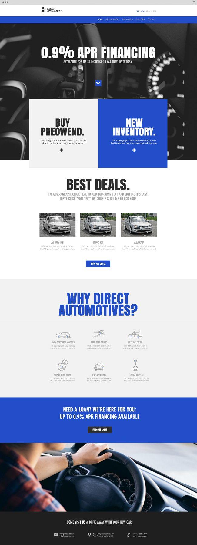 Modern car dealership website template