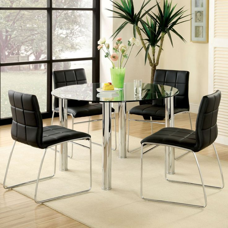Furniture Of America Jensen 5 Piece Glass Top Dining Set