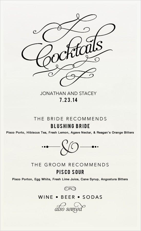 Best 25+ Wedding drink menu ideas on Pinterest Wedding drink - drinks menu template