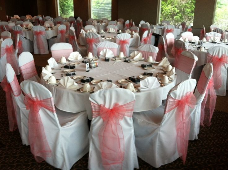 Coral Reef Organza Sashes on White Chair Covers