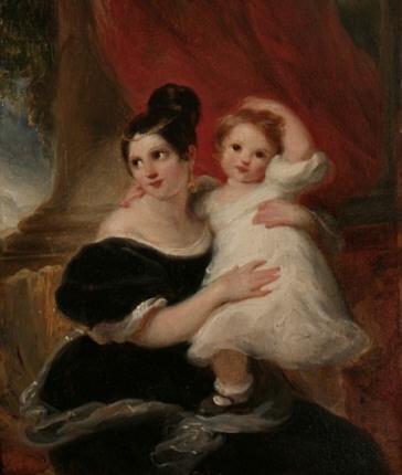 Moeder en kind, board, 22,5 x 17,5 cm., in antiek vergulde lijst.