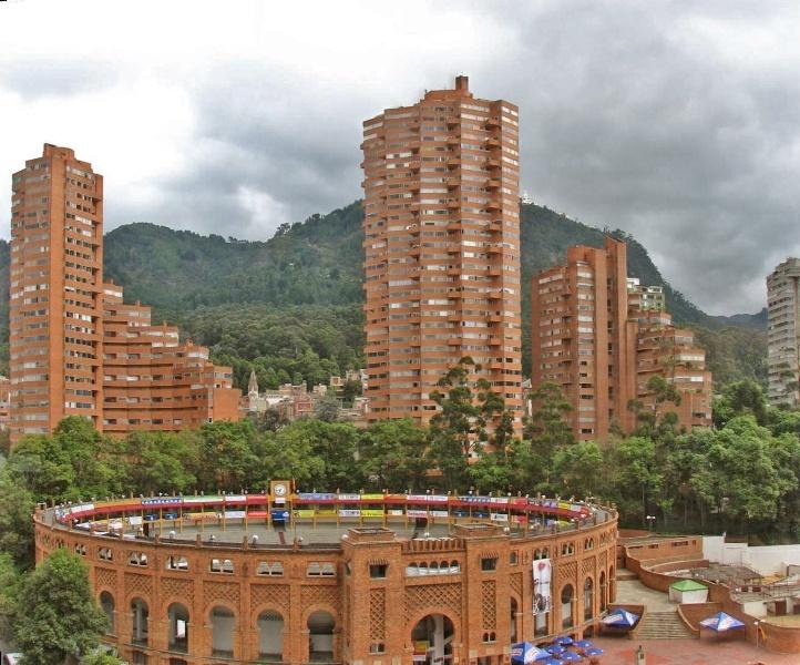 """Torres del Parque"" a building complex by Rogelio Salmona, surrounding the ""Plaza de Toros de Santamaria"" our bullfighting plaza at Bogotá, Colombia."