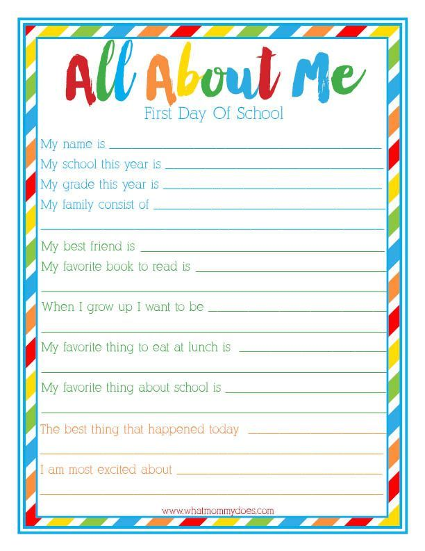 "{FREE PRINTABLE} ""All About Me"" Back to School Idea for Kids - Print out this survey for Kindergarten / elementary school students! I think it's lovely for first grade and second grade to take as well. A beginning of year interview so parents can capture this moment in time. Such a cute way to start the school year!"