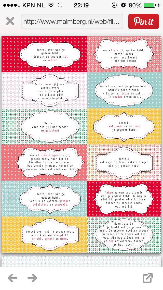 Interview kaartjes: vakantie weekend verhalen. http://www.malmberg.nl/juf/Kaartjes/archief-1/Interviewkaartjes.htm