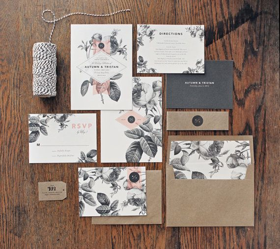 painterly floral wedding invitation correspondence set vintage florals and modern accents sample set