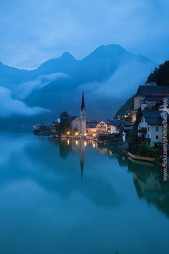 Hallstatt, a village in the Salzkammergut region in Austria