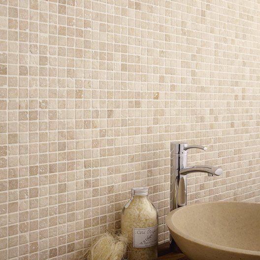 Mosa que mineral travertin artens ivoire cm for Mosaique salle de bain leroy merlin