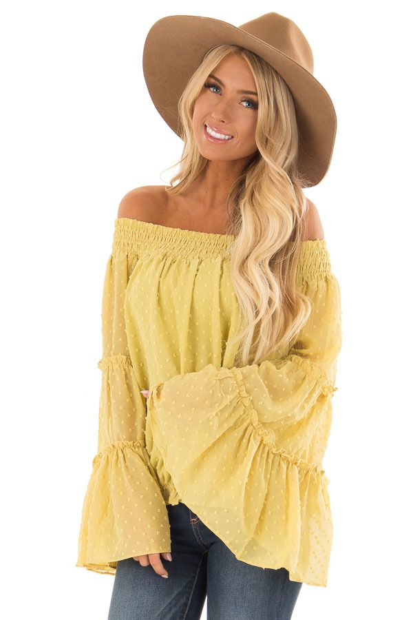 ca8ac136400d9d Lime Lush Boutique - Mustard Yellow Sheer Off the Shoulder Top with Bell  Sleeves, $44.99