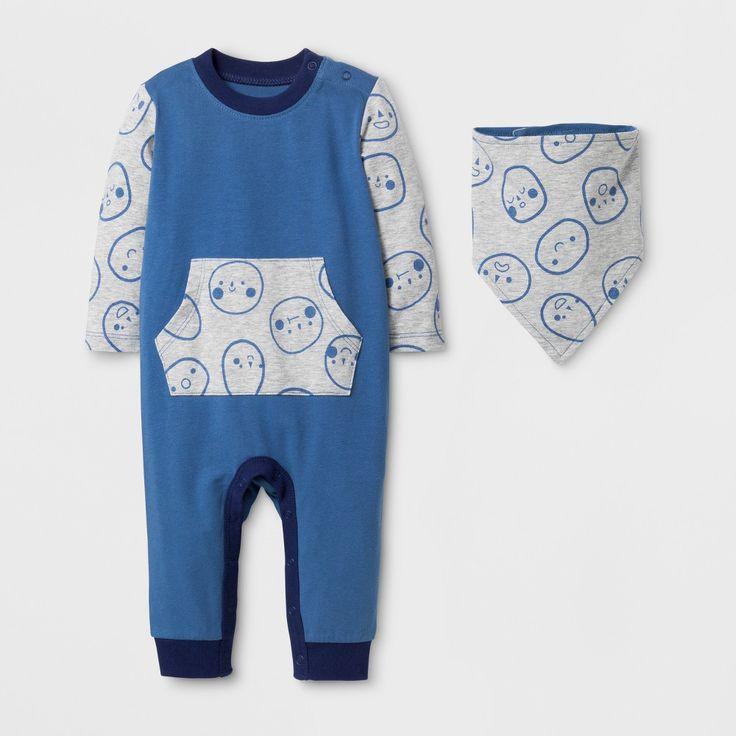 Toddler Boys' Long Sleeve Romper with Kangaroo Pocket and Bib - Cat & Jack Shallow Blue 6-9M