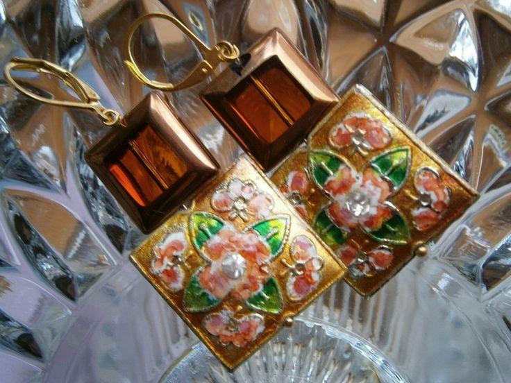 Ohrringe, orange, Emaille,kupfer von kunstpause auf DaWanda.com